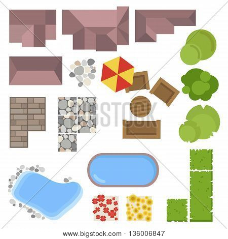 Landscape elements, top view. House, garden, tree, lake,swimming pools, bench, table. Landscaping symbols set isolated on white