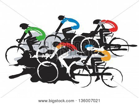Expressive stylized drawing of road cyclists, imitating drawing ink and brush. Vector available.