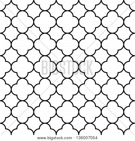 Black and white arabic traditional geometric quatrefoil seamless pattern, vector background