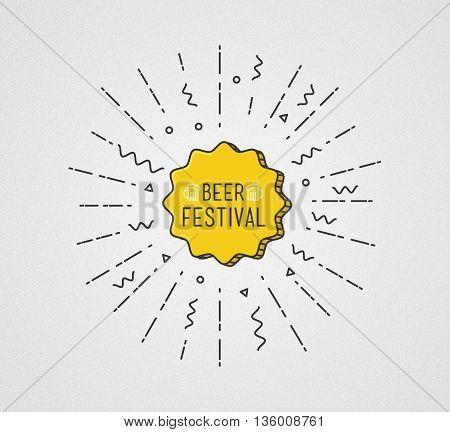 Beer Festival Shining Banner, Colorful Background In Flat Style