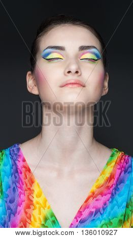portrait of beautiful girl with clean face and closed eyes