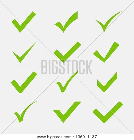 Check mark icon vector set isolated on white background. Green tick symbols in a flat style. Icon Ok Yes or Agree to the web sites and applications.