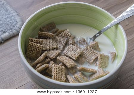 Breakfast cereal over ceramic bowl, Healthy food