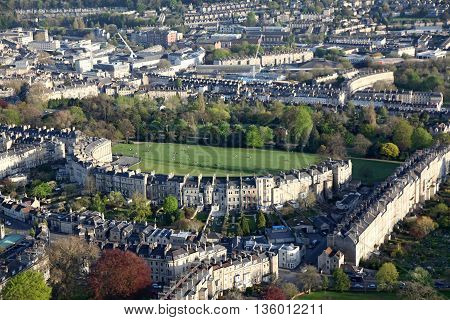 Looking down on the Royal crescent Bath with some of bath City shown in the background