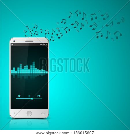 Smartphone with music notes, Digital Equalizer, vector