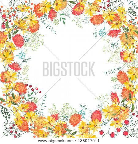 Square frame with contour asters, herberas and herbs on white. Floral pattern for your summer design, floral greeting cards, posters.