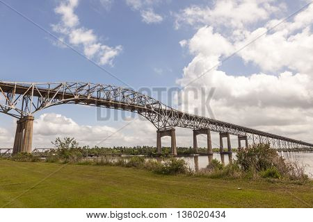 The historic Calcasieu River Bridge from 1951. Westlake Louisiana United States