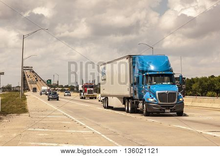 WESTLAKE USA - APR 15: Traffic on the Interstate at the historic Calcasieu River bridge at Westlake. April 15 2016 in Westlake Louisiana United States