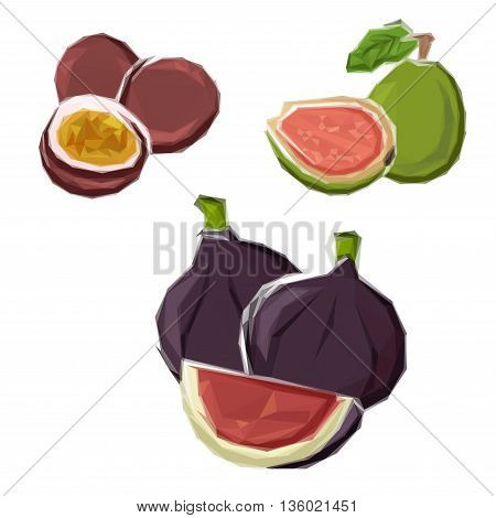 Polygonal deep violet figs, green guava and purple maracuja fruits symbols with abstract geometric low poly slices. Grocery store and vegetarian dessert design usage