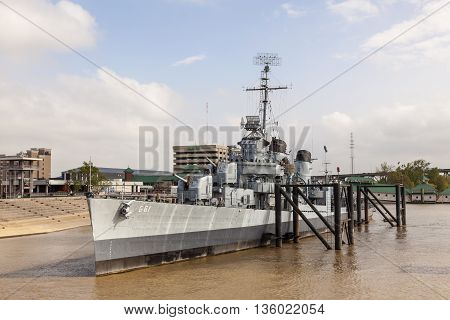 BATON ROUGE USA - APR 15: The historic battleship USS Kidd on the Mississippi River in Baton Rouge. April 15 2016 in Baton Rouge Louisiana United States