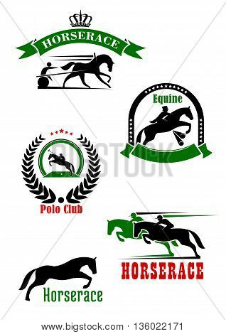 Horseracing, dressage and polo club sporting heraldic symbols with jumping horse over hurdle and running racehorses with jockeys, cart and polo player with mallet, adorned by wreath, ribbon banners, stars and crown
