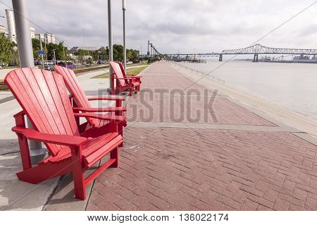 Waterfront promenade at the Mississippi River in Baton Rouge. Louisiana United States