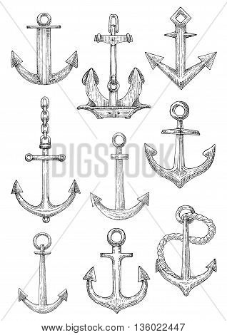 Old fashioned decorative sailing ships admiralty anchors and large naval anchor with chain and twisted rope rodes. Marine club symbol or nautical theme design