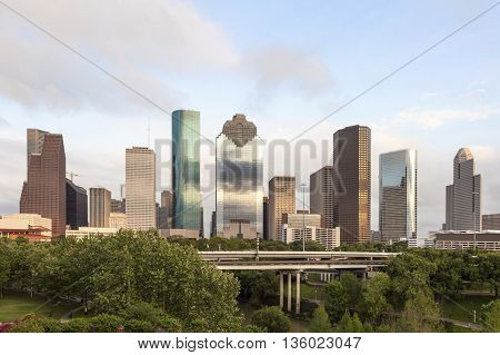Houston downtown skyline from the city park. Texas United States