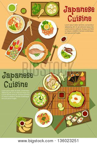 Seafood menu of japanese cuisine icon with sushi, sashimi and oysters, rice topped with caviar and steamed fish, udon and ramen soups, fried dumplings and blood sausage skewers, teriyaki salmon and shrimps,  avocado rice and squid salads. Flat style