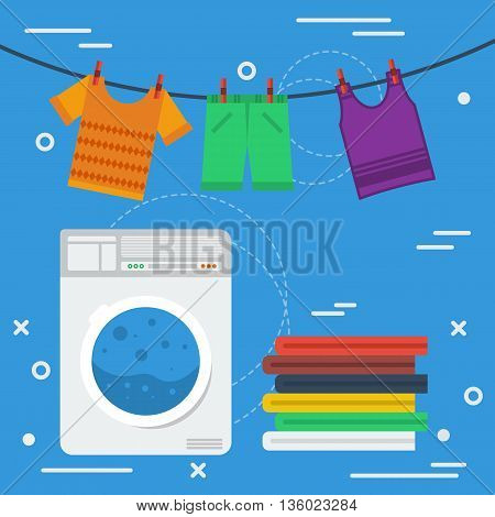 Vector square banner laundry concept. Cleaning service, laundry room and personal cleaning. Washing machine and clothes drying on roap in flat style on blue background