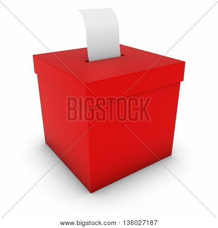 Red Ballot Box With Blank Polling Card 3D Illustration