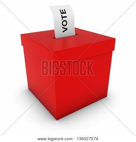 Red Ballot Box With Voting Slip 3D Illustration