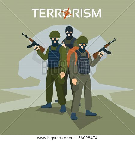 Armed Terrorist Group Terrorism Concept Flat Vector Illustration
