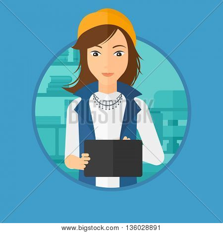 Woman using a tablet computer in the office. Business woman working with a digital tablet. Business woman holding digital tablet. Vector flat design illustration in the circle isolated on background.