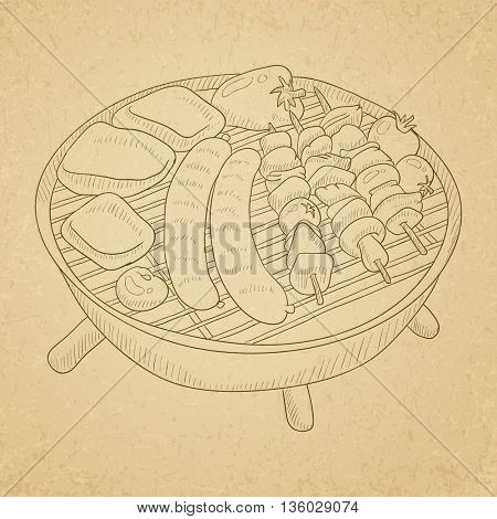 Assorted delicious grilled meat with vegetable on a barbecue grid. Grilled meat hand drawn on old paper vintage background. Grilled meat vector sketch illustration.