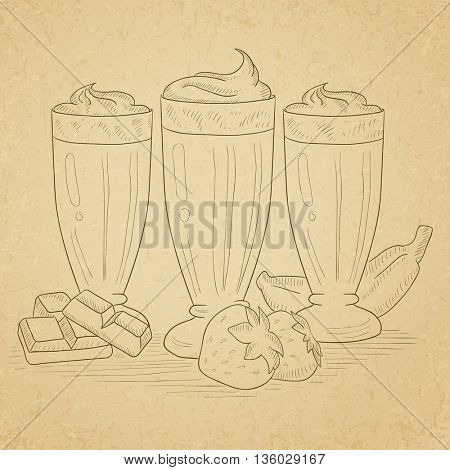 Banana, strawberry and chocolate smoothies. Smoothies hand drawn on old paper vintage background. Smoothies vector sketch illustration.