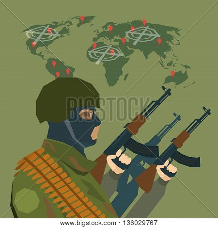 Armed Terrorist Over World Map Terrorism Concept Flat Vector Illustration