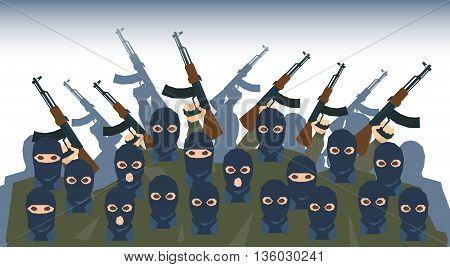 Armed Terrorist Group Terrorism People Crowd Vector Illustration
