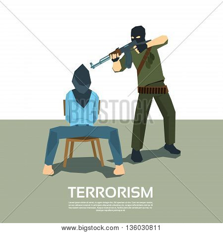 Armed Terrorist Point Gun to Hostage Kidnapping Terrorism Vector Illustration