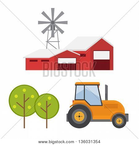Agricultural machines. Rustic landscapes eps 10 vector