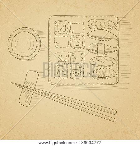 Various kinds of sushi served on a plate. Sushi hand drawn on old paper vintage background. Sushi vector sketch illustration.