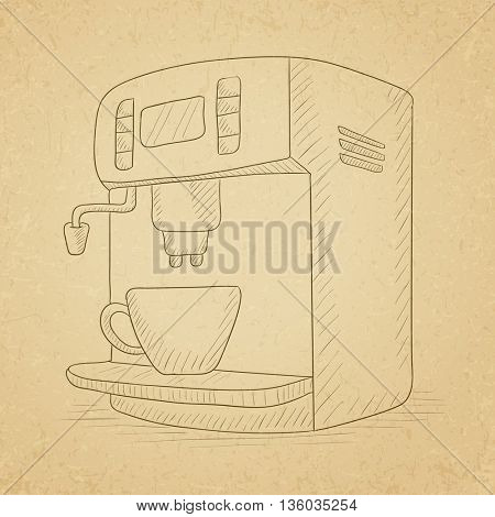Coffee maker with cup. Coffee maker hand drawn on old paper vintage background. Coffee maker vector sketch illustration.