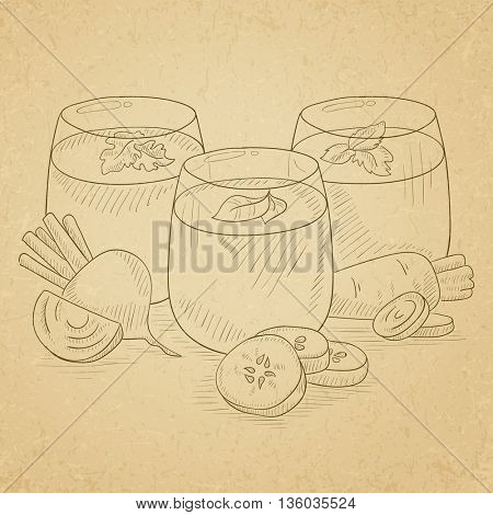 Freshly squeezed vegetable juices from cucumber, beet and carrot. Squeezed vegetable juices hand drawn on old paper vintage background. Squeezed vegetable juices vector sketch illustration.