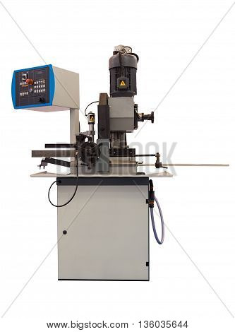 Semi-automatic vertical sawing machine isolated on white background