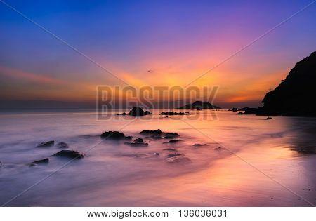 Twilight at the sunset on The beach