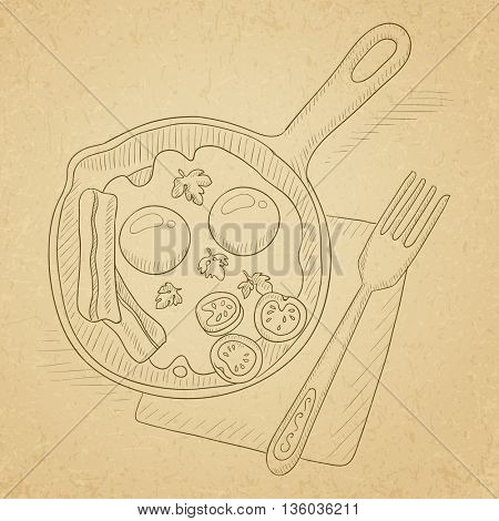 Fried eggs with bacon on frying pan. Fried eggs with bacon hand drawn on old paper vintage background. Fried eggs with bacon vector sketch illustration.