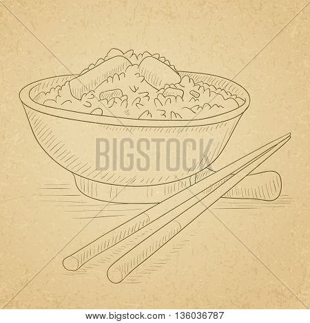 Bowl of boiled rice with chopsticks. Bowl of boiled rice hand drawn on old paper vintage background. Bowl of boiled rice vector sketch illustration.