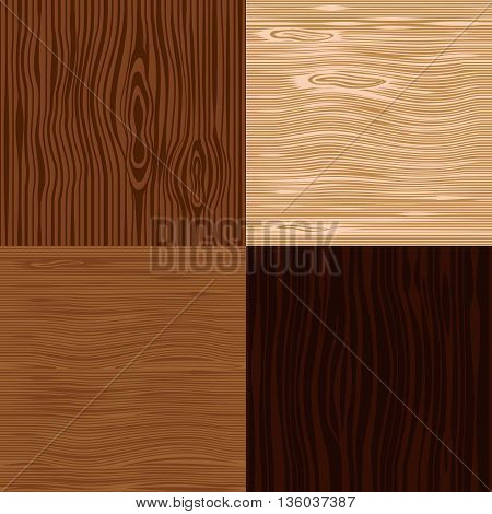 Wooden texture seamless backgrounds set. Old wood plank patterns vector
