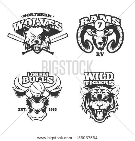Vintage vector labels with wolf, bulls, ram and tiger. Ram label, bull label, tiger label wolf label, sport mascot animal illustration
