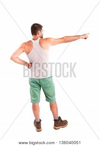 Man Posing His Back On White Background