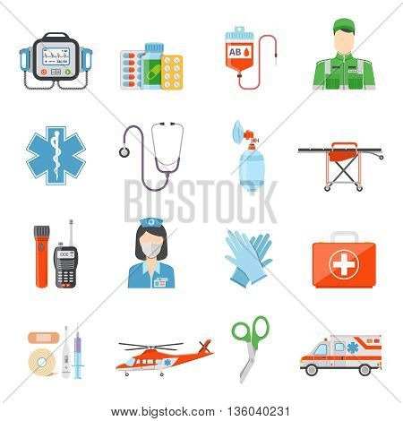 Paramedic flat colored decorative icons set with  medicine chest device for pressure measuring handcart on wheels isolated vector illustration