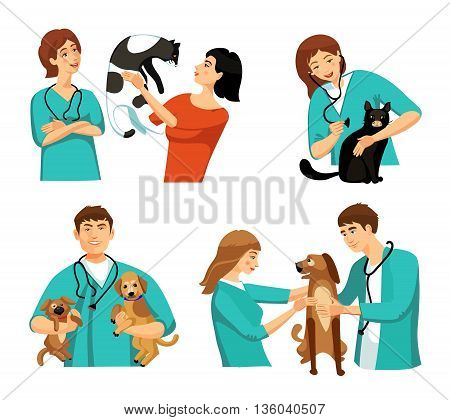 People veterinary set with veterinary doctor nurse clients dogs and cats flat isolated vector illustration