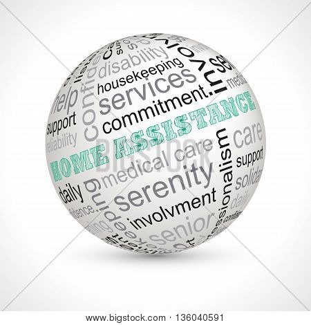 Home assistance theme sphere with keywords full vector