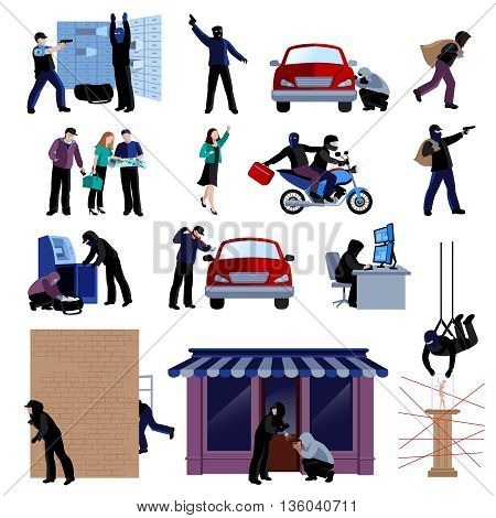 Armed burglars committing crimes flat icons set on white background isolated vector illustration