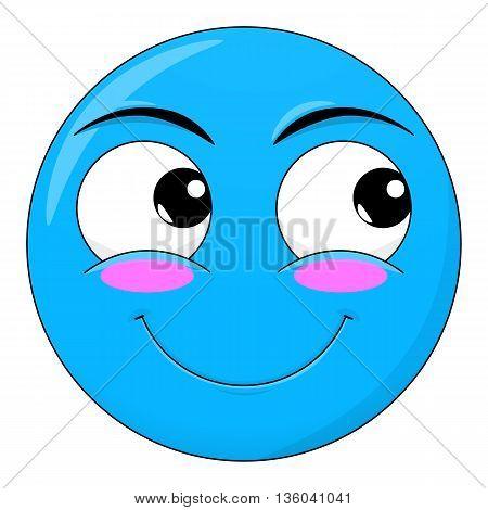 Smile sweet happy blushed embarrassed look away emotion. Emoji vector cartoon.