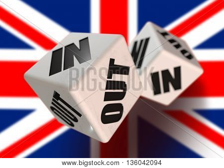 In or Out vote on dice for United kingdom leaving the European Union with flag in the background. Concept for citizens voting for independence and exiting the EU.