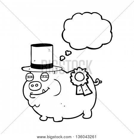 freehand drawn thought bubble cartoon prize winning pig