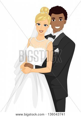 Illustration of an Interracial Couple Having Their Portrait Taken