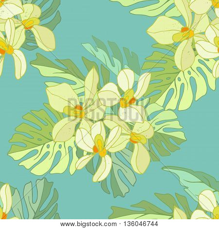 Seamless pattern of exotic flowers. Tropical flowers and palm leaves