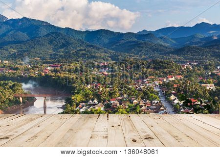 Wood Table With Viewpoint And Landscape In Luang Prabang, Laos.